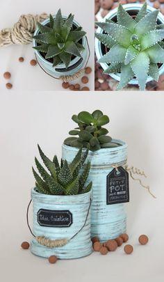 Recycler des boites de conserve en pots de fleurs   Idée Créative   DIY Création et décoration