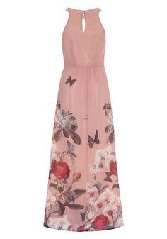 Orchid Print Halterneck Maxi Dress