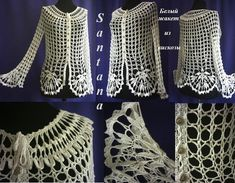 Crochet Corona Shawl Free Pattern - a href='/tag/Crochet' Women a href='/tag/Shawl' Sweater Outwear Free Patterns This Pin was discovered by Per - a grouped images picture - Pin Them All A beautiful turquoise fishnet jacket crochet. Gilet Crochet, Crochet Shirt, Crochet Cardigan, Easy Crochet, Crochet Top, Step By Step Crochet, Lace Jacket, Lany, Crochet Clothes