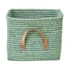 Rice Dk Mint Green coloured raffia square storage basket great update for any room, including the kids room or living room Soft Toy Storage, Toy Storage Bags, Storage Baskets, Kids Storage, Square Baskets, Toy Basket, Playroom Furniture, Leather Handle, Scandinavian Design