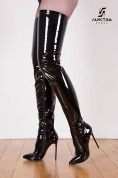 Giaro Black shiny Giaro Elegance thigh high boots - Boot Heels - Ideas of Boot Heels - Giaro Black shiny Giaro Elegance thigh high boots Thigh High Boots Heels, Black High Heels, Heeled Boots, Boot Heels, Latex Boots, Crotch Boots, Talons Sexy, High Leather Boots, Black Leather