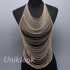 Boho Chic JET-SET Gold & Clear Crystal BODY CHAIN Bib Statement Jewelry Necklace $32.99