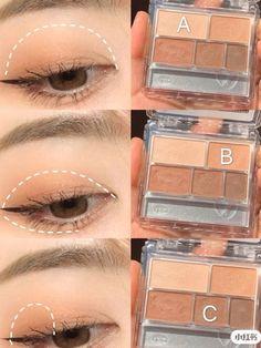 Soft Eye Makeup, Korean Eye Makeup, Makeup Eye Looks, Eye Makeup Steps, Eye Makeup Art, Asian Makeup, Cute Makeup, Simple Makeup, Sweet Makeup