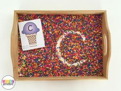 Free printable ice cream alphabet cards for this super simple writing tray filled with sprinkles! Practice pre-writing and fine motor skills. Alphabet Writing Practice, Learning Letters, Alphabet Activities, Pre Writing, Cool Writing, Letter Writing, Ice Cream Theme, Alphabet Cards, Literacy Activities