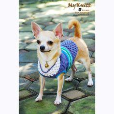 Blue Turquoise Dog Clothing Pet clothes Handmade by myknitt #handmade #dogclothes #petclothing #unique #fashion #pets #chihuahua
