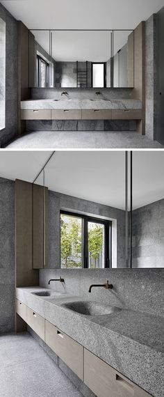 This modern master bathroom has smooth granite walls that create a natural appearance, while the basin and countertop have been engineered from a solid block of granite, creating a seamless finish. Bad Inspiration, Bathroom Inspiration, Ideas Baños, Decor Ideas, Granite Bathroom, Granite Kitchen, Modern Master Bathroom, Small Bathroom, Boho Bathroom