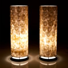 Natural Capiz Shell Floor Night Lights (sold as pair) by Collectiviste on Etsy