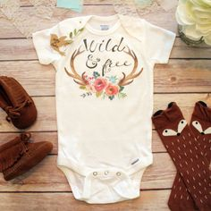 Wild and Free Baby Onesie®, Cute Baby Clothes, Baby Girl Clothes, Hippie Baby Clothes, Boho Baby Clothes, Antler Onesie, Trendy Baby Clothes by BittyandBoho on Etsy