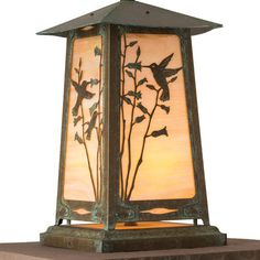 "America's Finest Lighting Company Baldwin 1 Light Pier Mount Light Finish: Architectural Bronze, Shade Finish: Gold Iridescent, Size: 16.5"" H x 9.7..."