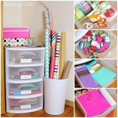 Create a perfectly functionally gift wrapping station in a space as tiny as a corner in your closet! All Things G&D #allthingsgd