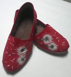 Hand Painted Red Toms Shoes by 2Messy on Etsy, $60.00