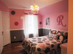 Pretty in Pink, Pink and Gray Girls Bedroom, Wood circles painted in coordinating colors were added to the walls to complete the transformation., Girls Rooms Design