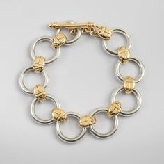 Scarab Circle Bracelet in Gold and Silver