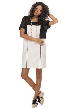 Robe ample de ponte & mesh / Mesh & ponte body dress https://www.tristanstyle.com/en/femmes/robes/robe-ample-de-ponte-mesh/8/fv090f0300z/