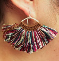 multi color fluff earrings with sterling silver by cafeandshiraz Macrame Colar, Macrame Earrings, Macrame Bag, Macrame Jewelry, Diy Jewelry, Dangle Earrings, Crochet Earrings, Macrame Wall Hanging Diy, Argent Sterling