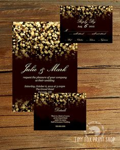 PRINTABLE Gold Glitter Gatsby Wedding Invitation Kit with RSVP and Enclosure Card on Etsy, £15.41