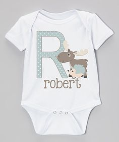 Look at this Initial Request White & Teal Moose Initial Personalized Bodysuit - Infant on #zulily today!