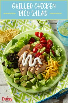 Easy to make and fun to eat, this colorful Grilled Chicken Taco Salad is the perfect lunch for warmer weather.