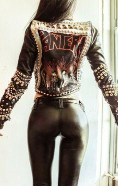 Pantera Power metal Studded Warrior Jacket by Toxic Vision (.yeah sure, Pantera) Metal Fashion, Leather Fashion, Steampunk Fashion, Gothic Fashion, 80s Rock Fashion, Junior Fashion, Street Fashion, Estilo Rock, Toxic Vision