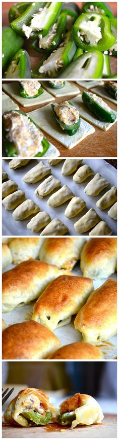 """Pastry Jalapeno Poppers by Rachel Schultz. What a woderful recipe.""""Puff Pastry Jalapeno Poppers by Rachel Schultz. What a woderful recipe. Finger Food Appetizers, Yummy Appetizers, Appetizer Recipes, Party Appetizers, Salami Appetizer, Cheese Appetizers, Think Food, I Love Food, Tapas"""