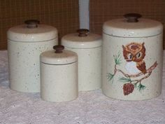 Retro Kitchen Canister Set Metal 4 Pieces Owl I Could Easily Paint This!