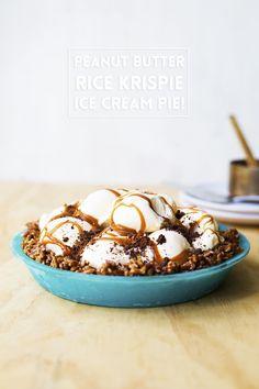 Peanut Butter Rice Krispie Ice Cream Pie! // The Sugar Hit