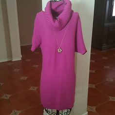 JUST IN* CHARTER CLUB tunic/dress Beautiful berry colored tunic /sweater dress with xoql neck. Can be worn with leggings or over some skinny jeans! Necklace not included. Charter Club Sweaters
