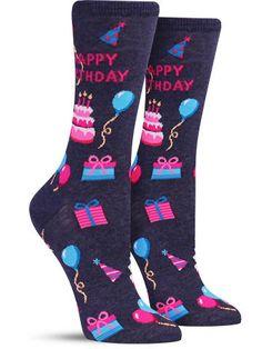 Happy Birthday Funny Novelty Socks for Women, in denim