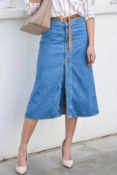 f51b1f8ecfd Zara Denim Midi Skirt - Beautiful Wardrobe