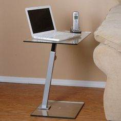 Tier One Designs T1D-117 Laptop Stand End Table Desk, Clear Color: Clear and Silver. Size: 27.5H x 23.5W x 15.75D. Contemporary design.. Use as an end table or a laptop stand.. Space saver..  #Tier_One_Designs #Lighting