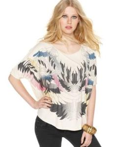 kensie feather graphic top