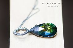 Crystal Necklace Drop Necklace Swarovski Necklace by DevikaBox