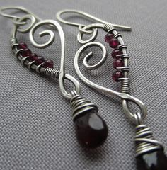 Wire Wrapped Earrings with Garnet Drops/ Artisan Earrings by mese9, $34.00