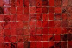 Red Murano Glass Tiles Pattern - I love the uneven grout work.