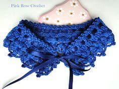 \ PINK ROSE CROCHET /: Colar Gola Azul Marinho - Crochet Collar