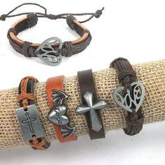 4pcs Handmade Flying Love Heart Cross Charms Hemp by jewelrygo, $4.99