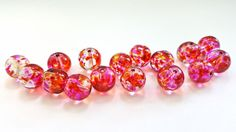 Pink and Red Watercolor Roundm Glass Beads.  16 Gorgeous Beads.  10mm in Size.  Fun and Funky Beads!!  Pretty and Unique!!  Great Beads!! by FunkyCreativeJuices on Etsy