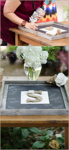 Burlap, Twine and Chalkboard unique guest sign in Welcome Valley Village Wedding by Mimi Kay Photography of Cleveland, TN  Outdoor, Rustic, DIY, wedding  Burlap and Lace, hydrangea, chalkboard details guest sign in table