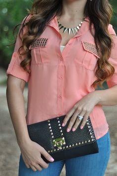 Coral Shirt Hot Miami Styles @hotmiamistylesblog