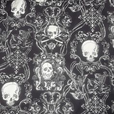Alexander Henry Skullduggery Halloween Skulls Decorator Cotton Fabric 3 3/4 Yards Goth Skull Fabric