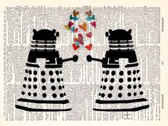 Dr Who - Dalek Valentine Love - Geekery  - Vintage Dictionary Print Vintage Book Print Page Art Upcycled Vintage Book Art.