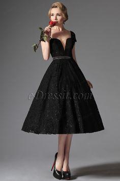 Nuevo Negro Encaje Vestido de Fiesta Formal Elegante (04145200)