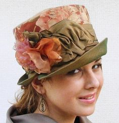 Womens Floral Print Fabric Edwardian Downton Abbey  Vintage Style Hat