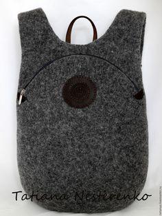"""Купить Рюкзак """"Экскурсия в Stonehenge"""" - темно-серый, однотонный, рюкзак, валяный рюкзак, рюкзак кожаный"""