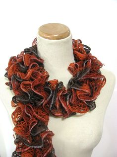 Sale Hand Knit  Scarf Ruffle Scarf Orange Rust by ArlenesBoutique, $20.00