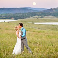A casual and rustic outdoor wedding under a full moon.