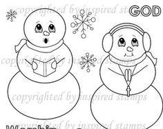 Inspired Stamps... 4x6, 100% photopolymer stampset: SNOWMEN   Stampset...NEW