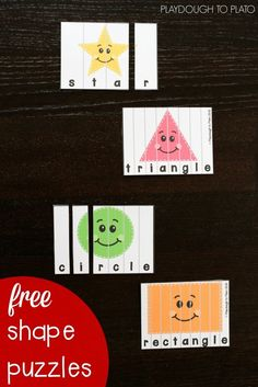 Free Shape Puzzles for Kids. Great way to work on shape recognition, fine motor skills and problem solving. Perfect for preschool or kindergarten math.