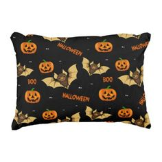 Bat pumpkin and spider pattern decorative pillow - halloween decor diy cyo personalize unique party