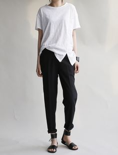 White t + black pants